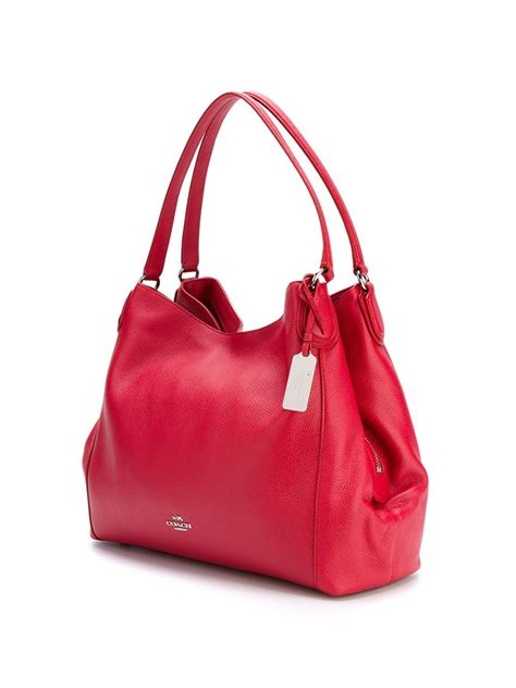 COACH Leather Classic Shoulder Bag in Red - Lyst